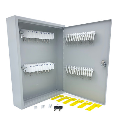 Huron Locking Gray Metal Key Cabinet Holds 60 Slotted Keys