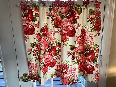 Vintage Floral Fabric Curtain Panel Cloth with solid white water proof backging
