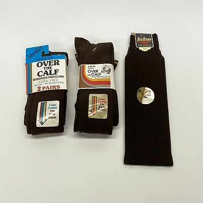 5 Pair Men's Vintage Over The Calf Nylon Dress Socks Brown Size 10-13