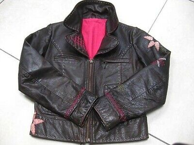 Girls M&S brown real leather COAT BIKER JACKET size age 7 8 years embellished