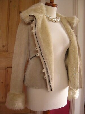 Ladies NEXT cream suede leather JACKET COAT hoody UK 8 6 faux fur sheepskin type