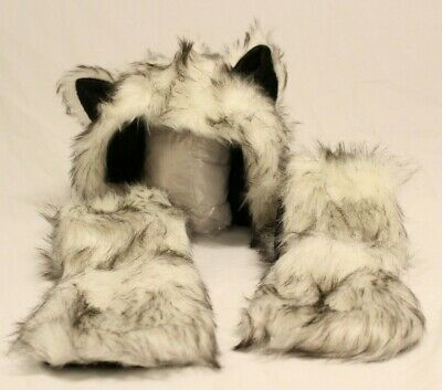 White Wolf Anime Faux Animal Hoods Mittens Gloves Scarf Ears and Paws