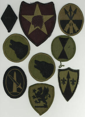 Lot 9 Original US Army Subdued Shoulder Patches Divisions Commands Corps & More!