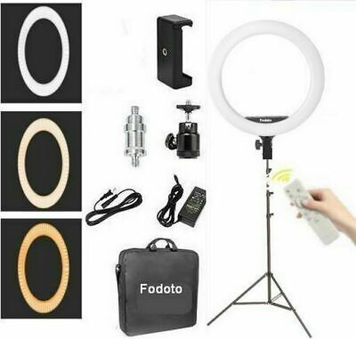 Fodoto 18 inch Bi-Color LED Ring Light Kit for Social Media and Beauty Shoot