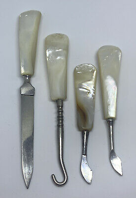 Antique Mother of Pearl Grooming Manicure Set Victorian Era
