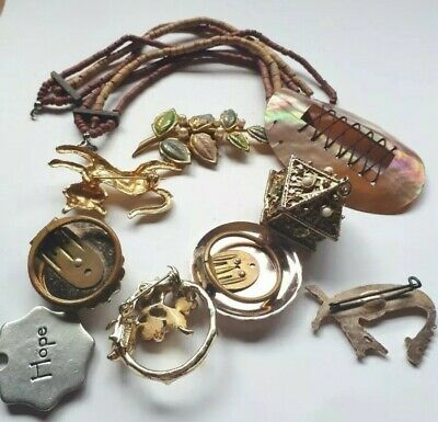 Antique VINTAGE JOB LOT COLLECTABLE CURIO rare jewellery shell unique brooches