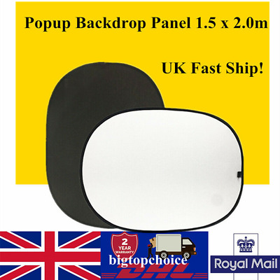 Pop Up Backdrop Studio Collapsible Background Black/White Muslin 2m x 1.5m  UK