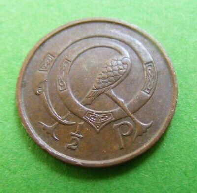 1975 Irish Decimal Half Penny Coin Old Vintage Ireland 1/2p Stylized Bird Harp