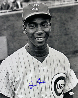 1953-71 Ernie Banks Chicago Cubs Signed LE 16x20 B&W Photo (JSA)