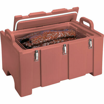 Cambro 40 Qt Cooler / Insulated Food Carrier, Molded Handles Brick Red 100Mpc