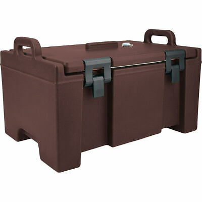 Cambro 40 Qt Cooler, Molded Handles And Easy Opening Latches Dark Brown Upc100