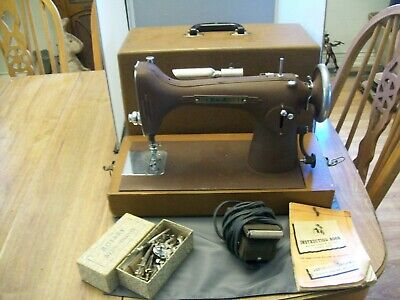 Antique New Home Model J Electric Sewing Machine--Works--In A Hard Case