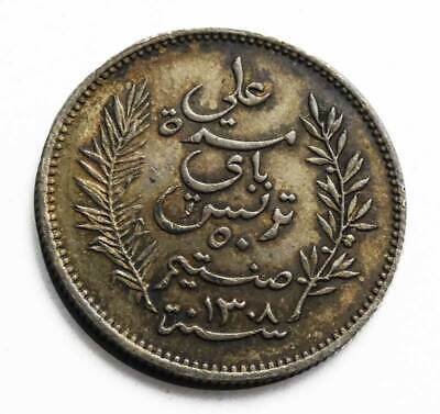 Tunisia AH 1308 (1891) A. 50 Centimes. Almost Unc. KM# 223