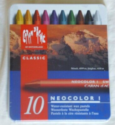 Caran Dache Swiss Made Neocolor water resistant wax pastels metal tin box of 10