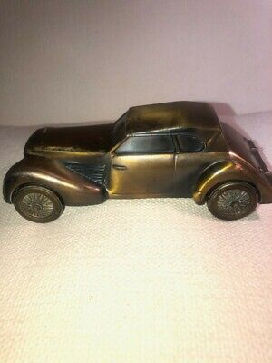 Vintage Banthrico Chicago Cast Metal Coin Bank CORD CAR 1936 Bell Savings & Loan