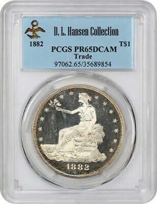 1882 Trade$ PCGS PR 65 DCAM ex: D.L. Hansen - Scarce Proof-Only Trade Dollar