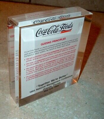 Vintage Coca Cola Advertising Coke Conference Paperweight Display 35 Yr Old RARE