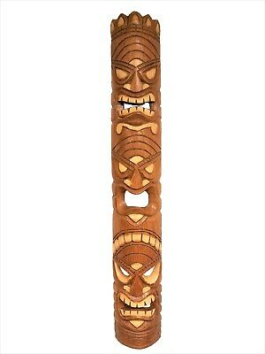 """39.5"""" Handcarved Natural Style Three Face Wood Tiki Mask with Unique Design!"""