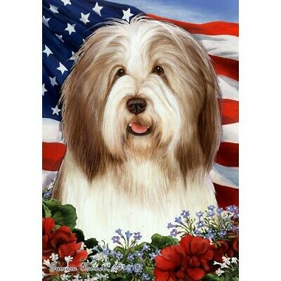 Patriotic (1) House Flag - Brown and White Bearded Collie 16482