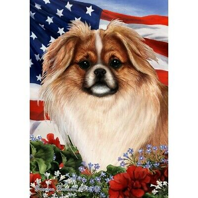 Patriotic (1) House Flag - Red and White Sable Tibetan Spaniel 16476