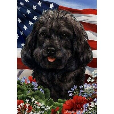 Patriotic (1) House Flag - Black Cockapoo 16260