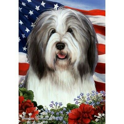 Patriotic (1) House Flag - Blue and White Bearded Collie 16170
