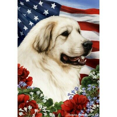 Patriotic (1) House Flag - Great Pyrenees 19146