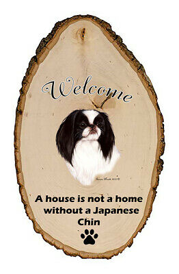 Outdoor Welcome Sign (TB) - Black and White Japanese Chin 51133