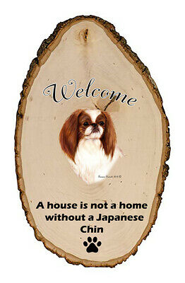 Outdoor Welcome Sign (TB) - Red and White Japanese Chin 51351