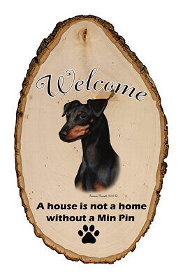 Outdoor Welcome Sign (TB) - Uncropped Black and Tan Miniature Pinscher 51084