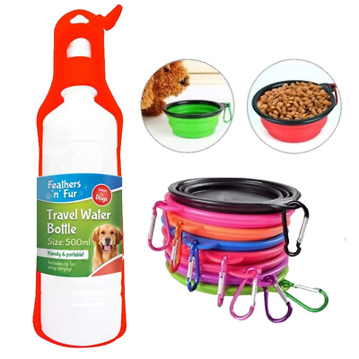 Collapsible Travel Bowl & Easy Carrying Water Bottle 500 ml