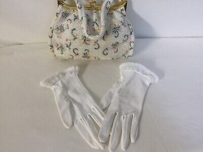"""Rare Pattern"" Vintage 1950 Lumured Corde' Bead White Purse With Mirror & Gloves"