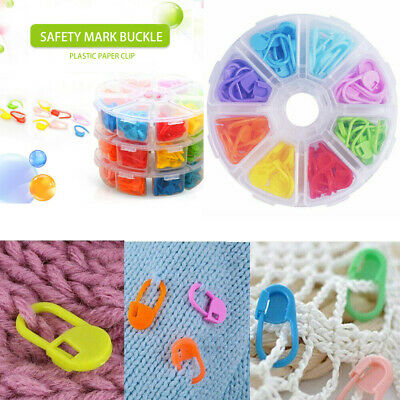 Plastic Locking Needle Stitch Holders Markers For Crochet Knitting Craft Clip AU