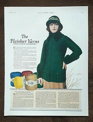 1924 Magazine Ad - Fleisher Yarns - Great Graphic