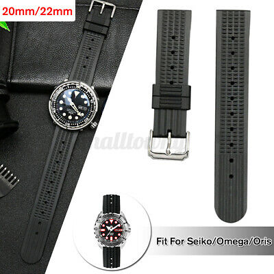 20mm/22mm Rubber Black Waffle Divers Watch Strap 🔥 @* `, e