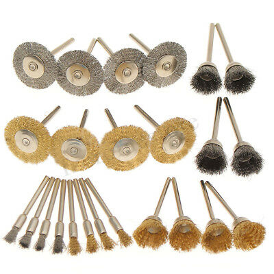 24pcs 2'' Brass Wire Brush Wheel 15 25 55mm Cup For Rotary Drill Rust