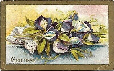 Greetings Purple & Blue Flowers  Lace Embossed Vintage Postcard 1910