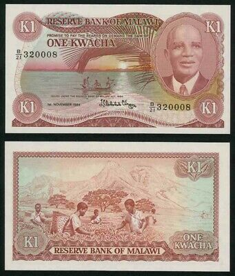 1984 Malawi One Kwacha Banknote Reserve Bank Act 1964 Dr Hastings Banda Pick 14h