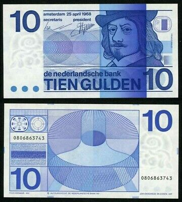 Beautiful Crisp Uncirculated 1968 Netherlands Banknote 10 Gulden Frans Hals Bust