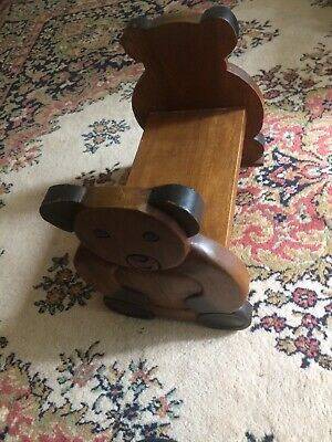 Child's Kids Small Wooden Seat/Bench Teddy Bear/Solid Wood/ Heavy