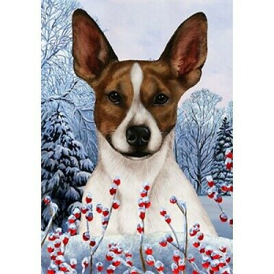 Winter House Flag - Brown and White Rat Terrier 15130