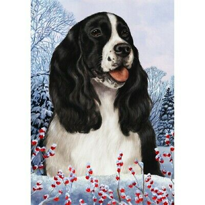 Winter House Flag - Black and White English Springer Spaniel 15080