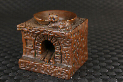 chinese old boxwood hand carved cat cooking bench statue incense burner