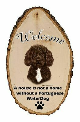 Outdoor Welcome Sign (TB) - Bearded Brown and White Portuguese Water Dog 51913