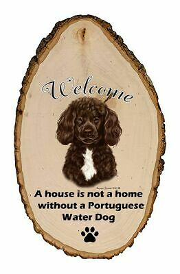 Outdoor Welcome Sign (TB) - Brown and White Portuguese Water Dog 51914