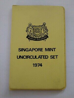 1974 Singapore 6 Coin Mint BU Set Yellow Wallet Year of the Tiger & Low Mintage