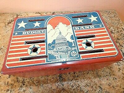 Vintage Marx Tin Lithographed Budget Bank Coin Bank Capital Building 1940s