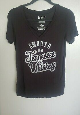 Lyric Culture Womens Smooth As Tennessee Whiskey Black T-Shirt.Small