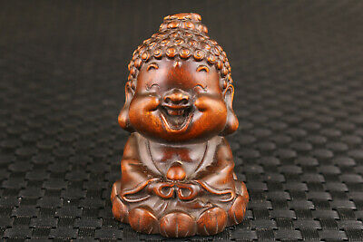 chinese old boxwood hand carved Maitreya buddha statue netsuke Figure table deco