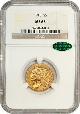 1915 $5 NGC/CAC MS63 - Indian Half Eagle - Gold Coin